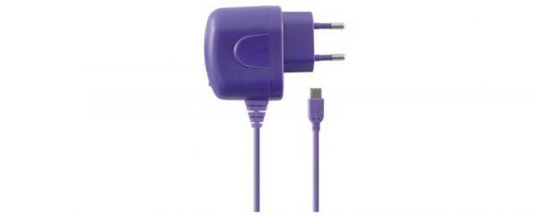Cargador directo 1A micro USB púrpura