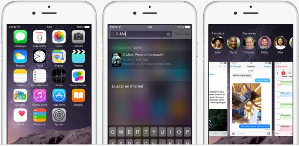 apple iOS 8 interfaz