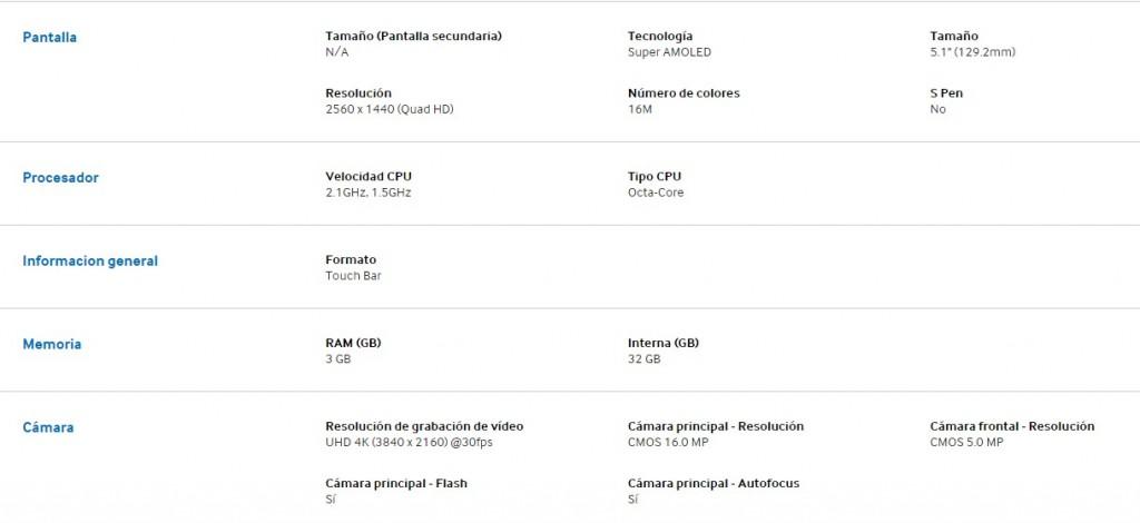 Características Galaxy S6