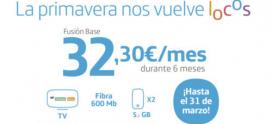 Fibra + 2 líneas móviles 32,3€/mes durante 6 meses